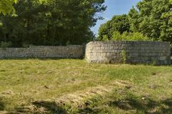 Fortified wall of Peristyl complex Abritus Stock Photo