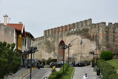 Fortified wall in the Upper Town of Thessaloniki Greece. Eptapyrgio or Heptapyrgion is a Byzantine and Ottoman fortress situated on the north-eastern corner of stock image