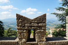 Fortified wall and a view of the city at the foot of San Marino, Stock Photos