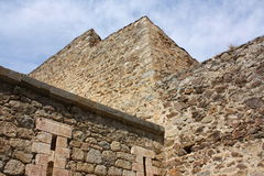 Fortified wall of Villefranche-de-Conflent. Languedoc-Roussillon region of France Royalty Free Stock Image