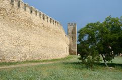 Fortified wall and watchtower in old turkish fortress Akkerman Stock Photography