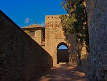 Fortified walls in Alcazaba moorish castle in Malaga. Fortifications of Alcazaba moorish castle in Malaga, on a sunny day with clear blue sky Royalty Free Stock Photo