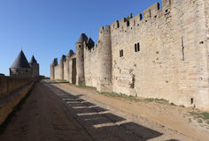 Fortified walls of Carcassonne Royalty Free Stock Photos
