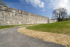 The fortified Walls of Quebec. This image was taken in Quebec City, Canada and show's the fortified walls of the city Royalty Free Stock Images