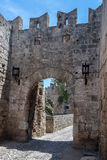 Fortified Walls Rhodes Greece Stock Image