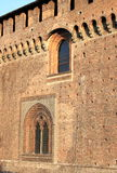 Fortified walls of Sforzesco castle in Milan Stock Images