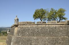 Fortified walls and trees Stock Image