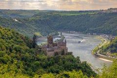 Fortifique Katz na paisagem Alemanha do vale do Reno de Goarshausen do sankt imagens de stock