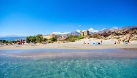 Fortifique na praia de Frangokastello, Creta, Grécia imagens de stock