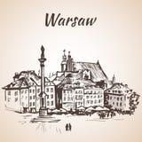 Fortifique o quadrado no quarto velho de Varsóvia, Polônia esboço Isolador Fotos de Stock Royalty Free