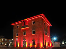 Fortino the symbol of Forte dei Marmi by night. Enlightened with red light in christmas Holidays stock photo