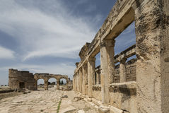 The Fortinus Gate and Avenue in Hierapolis, Denizli, Turkey Royalty Free Stock Images