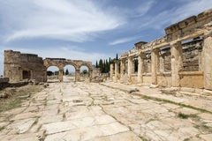 The Fortinus Gate and Avenue in Hierapolis, Denizli, Turkey Stock Photography