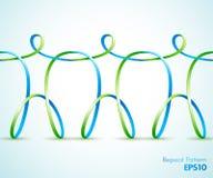 Fortlöpande diagram för band som tre rymmer händer stock illustrationer