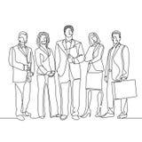 Fortlöpande en linje arbetare för teckningslagkontor vektor illustrationer