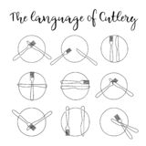 Fortlöpande en linje platta med gaffeln och kniven Teckenbestick vektor illustrationer