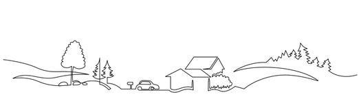 Fortlöpande en linje vektorteckning för lantligt landskap vektor illustrationer