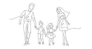 Fortlöpande linje föräldrar som går med barn En linje lycklig familj Utomhus- konturfolk Barnuppfostrantecken royaltyfri illustrationer