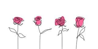 Fortlöpande linje fastställda samlingar för rosa blomma för teckning royaltyfri illustrationer