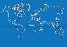 Fortlöpande linje teckning - översikt av världskartan vektor illustrationer