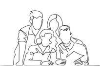 Fortlöpande linje teckning av affärslaget eller den eniga familjen royaltyfri illustrationer