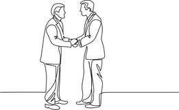 Fortlöpande linje teckning av affärsmän som möter handskakningen vektor illustrationer