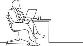 Fortlöpande linje teckning av affärsmannen som tänker på den vita backgroen stock illustrationer