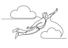 Fortlöpande linje teckning av affärspersonen - flyg i himlen vektor illustrationer