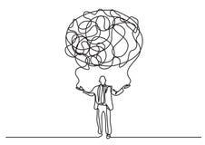 Fortlöpande linje teckning av affärspersonen som skapar molnet av avkänningar vektor illustrationer