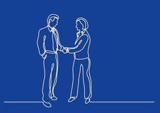 Fortlöpande linje teckning av affärspersoner som skakar händer vektor illustrationer