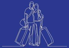 Fortlöpande linje teckning av att resa paranseende med bagage och bagage royaltyfri illustrationer