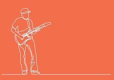 Fortlöpande linje teckning av att spela gitarristen royaltyfri illustrationer