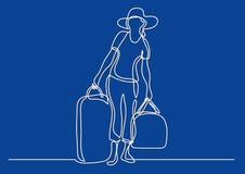 Fortlöpande linje teckning av bärande bagage för kvinnahandelsresande royaltyfri illustrationer