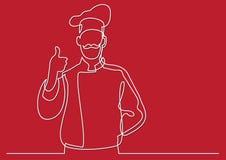 Fortlöpande linje teckning av den franska kockvisningtummen upp royaltyfri illustrationer