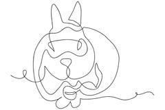 Fortlöpande linje teckning av den gulliga kaninvektorillustrationen Arkivfoto