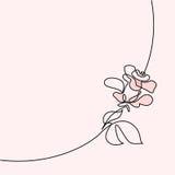 Fortlöpande linje teckning av den härliga rosa logoen vektor illustrationer