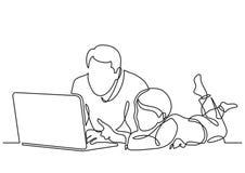 Fortlöpande linje teckning av den hållande ögonen på bärbar datordatoren för fader och för barn royaltyfri illustrationer