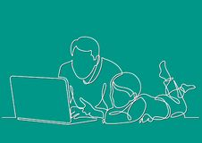 Fortlöpande linje teckning av den hållande ögonen på bärbar datordatoren för fader och för barn stock illustrationer