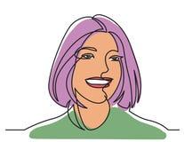 Fortlöpande linje teckning av den lyckliga kvinnaståenden på vit bakgrund stock illustrationer