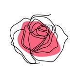 Fortlöpande linje teckning av den rosa blommavektorn royaltyfri illustrationer