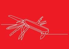 Fortlöpande linje teckning av den schweiziska armékniven Royaltyfri Bild