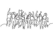 Fortlöpande linje teckning av den stora gruppen av att hoppa folk stock illustrationer
