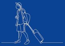 Fortlöpande linje teckning av den unga handelsresanderullningspåsen på hjul royaltyfri illustrationer