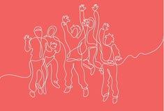 Fortlöpande linje teckning av det lyckliga lyckade laget stock illustrationer