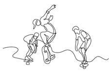 Fortlöpande linje teckning av gruppen av skateboradåkare stock illustrationer