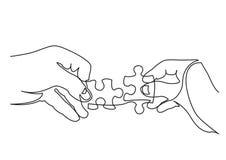 Fortlöpande linje teckning av händer som löser pusslet royaltyfri illustrationer