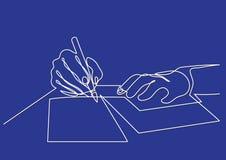 Fortlöpande linje teckning av händer som skrivar brevet royaltyfri illustrationer