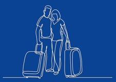 Fortlöpande linje teckning av handelsresandeparanseendet med bagage stock illustrationer