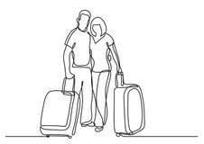 Fortlöpande linje teckning av handelsresandeparanseendet med bagage vektor illustrationer