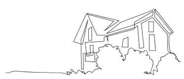 Fortlöpande linje teckning av huset, begrepp för bostads- byggande, logo, symbol, konstruktion, enkel vektorillustration vektor illustrationer